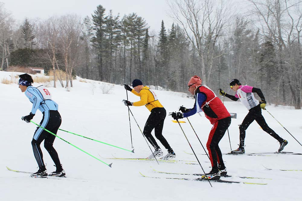 Cross-country ski racers at Canterbury Farm