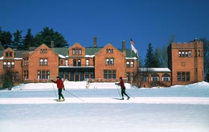 Cranwell Mansion with X-C Skiers